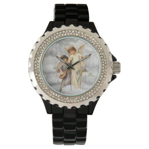 Reloj del diamante artificial de los ángeles del