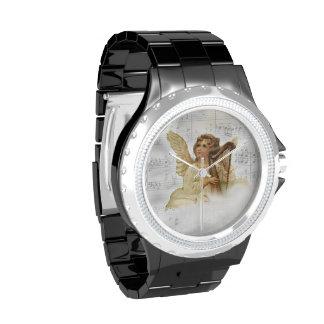 Reloj del diamante artificial del ángel del navida