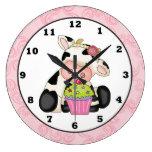 Reloj del dibujo animado de la pared de la vaca de