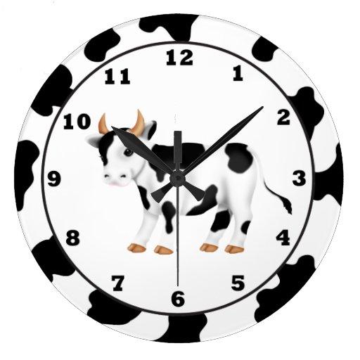 Reloj del dibujo animado de la vaca del país