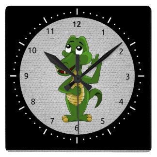 Reloj del dibujo animado del cocodrilo o del cocod
