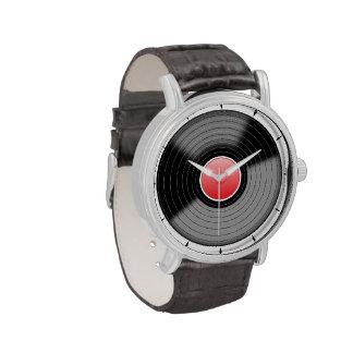 Reloj del disco de vinilo de la roca las