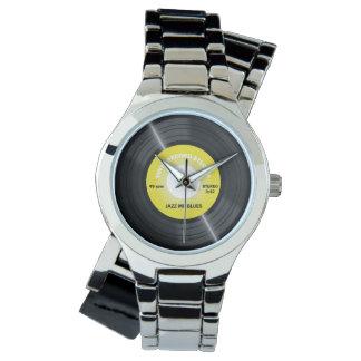 Reloj del disco de vinilo del amarillo 45 RPM del