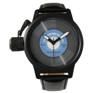 Reloj del disco de vinilo del azul 45 RPM del