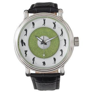 Reloj del diseño de la hierba del golfista del