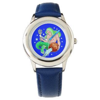 Reloj del diseño de la muestra del zodiaco del