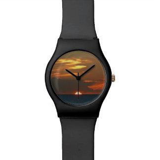 Reloj del diseño de la puesta del sol del horizont