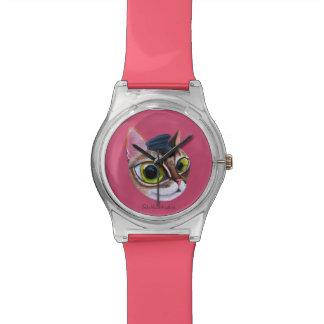 Reloj del diseño del gato -- Ángel de guarda