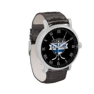 Reloj del escudo del logotipo del hockey sobre