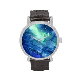 Reloj del espacio de la galaxia de la acuarela