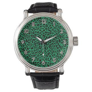 Reloj del estampado de animales de Leoopard del