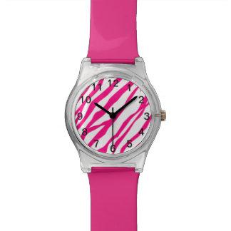 Reloj del estampado de zebra de las rosas fuertes