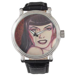Reloj del estilo del vintage de Bettie Page