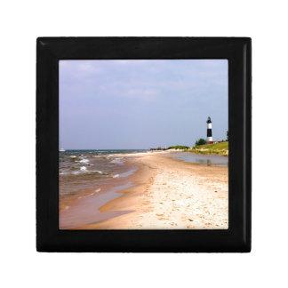 Reloj del faro de la playa caja de joyas