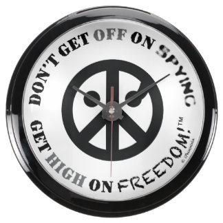 "Reloj del fishbowl de la libertad (10"" diámetro; l relojes pecera"