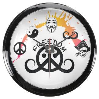 """Reloj del fishbowl de la libertad (10"""" diámetro; o reloj aquavista"""
