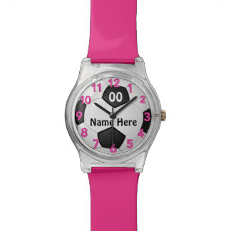 Reloj del fútbol para los chicas con NOMBRE y