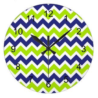 Reloj del galón de la verde lima de los azules