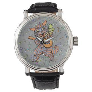 Reloj del gato del banjo del baile de Louis Wain