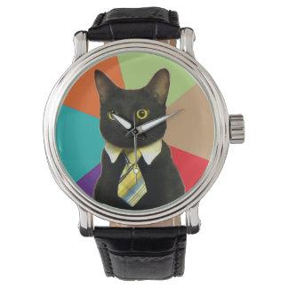 Reloj del gato del negocio