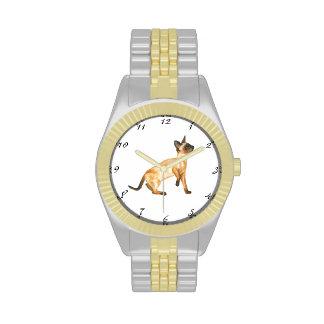 reloj del gato siamés del punto del sello