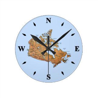 Reloj del mapa de Canadá