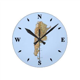 Reloj del mapa de la Argentina