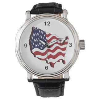 Reloj del mapa de la bandera de los E.E.U.U.