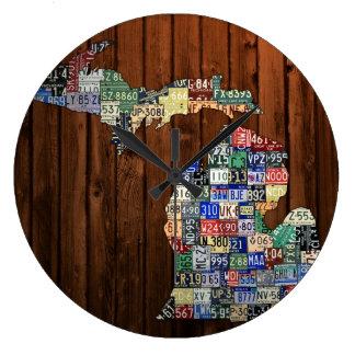 Reloj del mapa de la placa de los condados de Mich