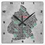 Reloj del mapa de la tipografía de Brooklyn NYC