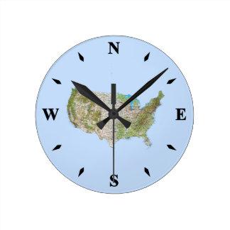 Reloj del mapa de los E.E.U.U.