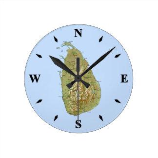 Reloj del mapa de Sri Lanka