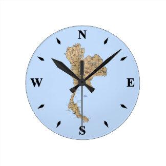 Reloj del mapa de Tailandia