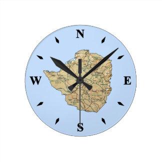 Reloj del mapa de Zimbabwe