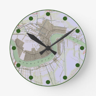 Reloj del mapa del verde de New Orleans