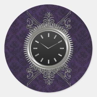 Reloj del metal plateado de Steampunk Pegatina Redonda