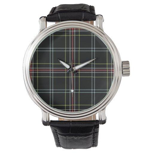 Reloj del modelo de la tela escocesa