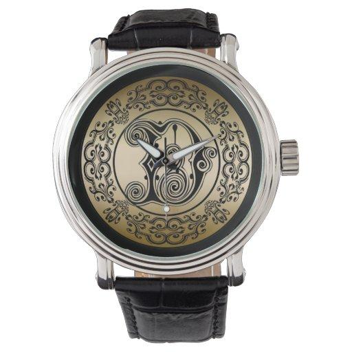 Reloj del monograma (inicial D)