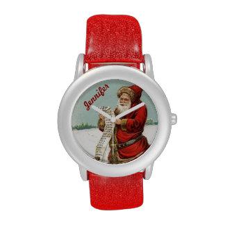 Reloj del navidad de Papá Noel del vintage