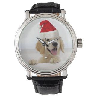 Reloj del navidad del perrito del golden retriever