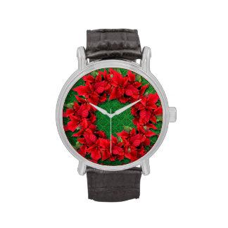 Reloj del navidad del Poinsettia