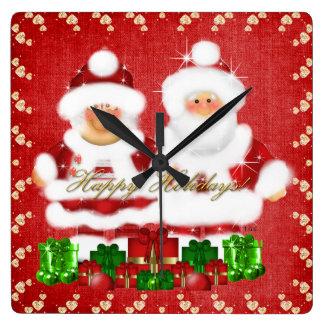Reloj del navidad Santa y de señora Claus