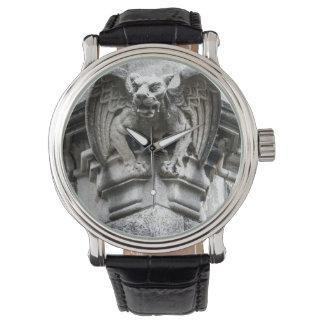 Reloj del negro de la correa de cuero del vintage