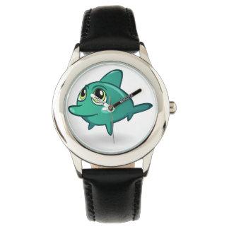 Reloj del negro del acero inoxidable del delfín de