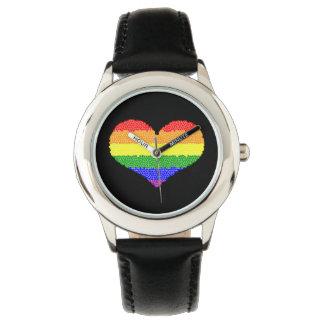 Reloj del negro del acero inoxidable del mosaico