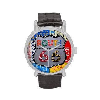 Reloj del negro del arte de la placa de la ruta 66