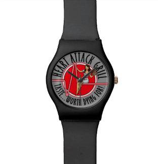Reloj del negro del logotipo de la parrilla del at