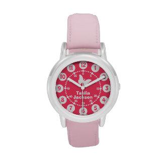 Reloj del nombre completo de los chicas rosa y