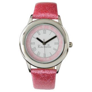 Reloj del nombre del rosa de la impresión del