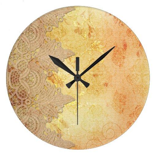 Reloj del oro del vintage y de pared del cordón